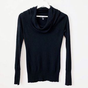 Mossimo Black Turtleneck Button Sleeve Sweater XS